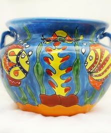 Talavera Mexican Pottery- Large Bean Pot- Fish Design