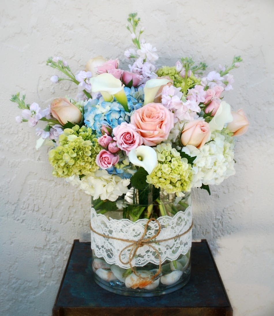 Beautiful Garden - Roses, hydrangeas, greens, pink stock and more.