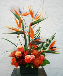 Birds in the Woods - carnations, birds of paradise, swetheart roses, and ruscus and greenery