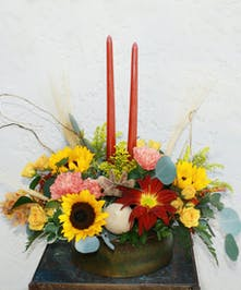 Fall candled centerpiece in a burnished metal container |  Punta Gorda Best Florist & Gift Shop