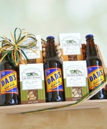 Nuts and Root beer fill this basket for dad