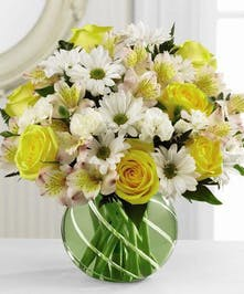 Cheerful blend of daisies, roses, alstromeria and mini carnations