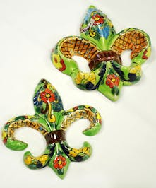 Talavera Mexican Pottery- Fleur de lis- Set of 2