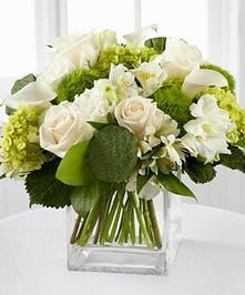 Luck O' The Irish Bouquet - green hydrangea, white cala, white alstro and white roses, greenery