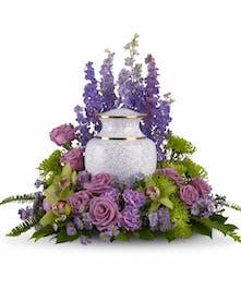 Purple, lavender and lime green cremation flower arrangement | Punta Gorda Funeral Flowers