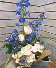 Driftwood Dreams - green hydrangea, blue thistle, driftwood, roses, grass, natural moss and blue delphinium