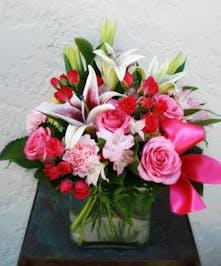 Pink Floral Cube Arrangement