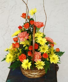 Longlasting summer sunset hued arrangement