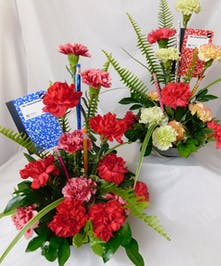 Teacher Essentials- mixed carnations with pencils and mini notepads