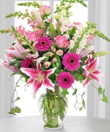 Thank You Mom - gerbera daisies, lilies, stock