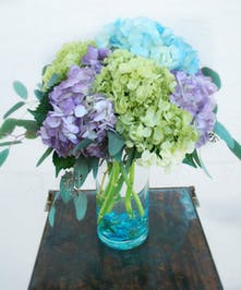 Blue, Purple & Green Hydrangea Vase