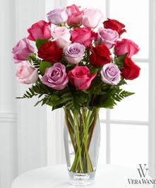 Mixed hues of pink roses in a Vera Wang quality designed vase